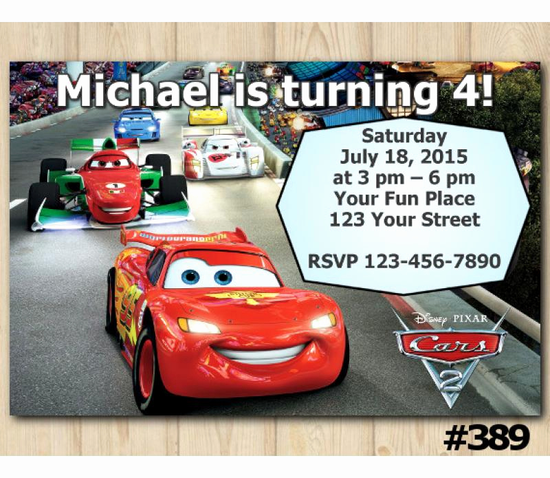 Disney Cars Invitation Template Unique Disney Cars Mcqueen Birthday Invitation Disney Cars