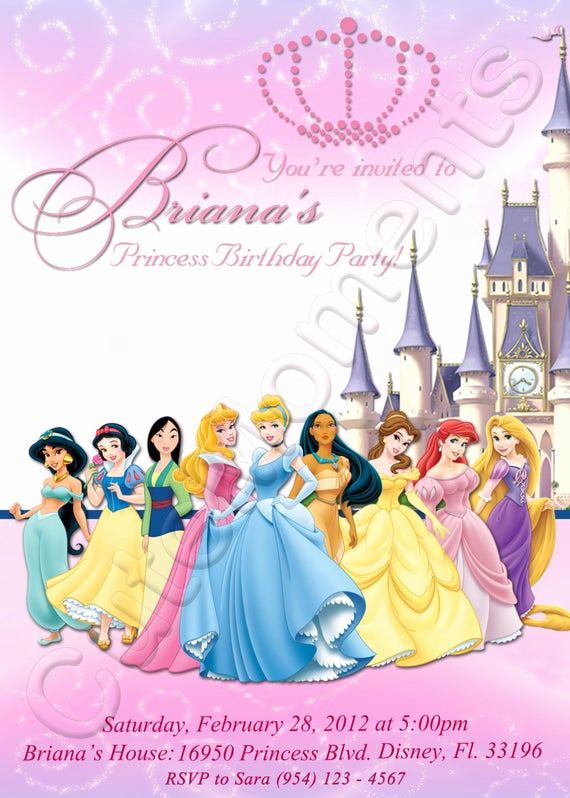 Disney Princess Invitation Template Awesome Disney Princess Personalized Digital Invitation by Cutemoments