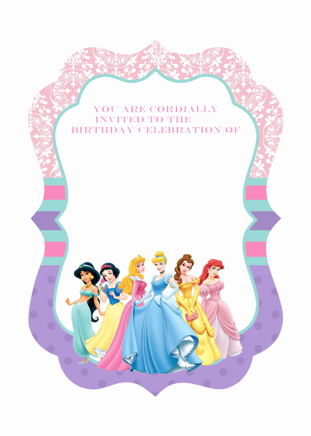 Disney Princess Invitation Template Best Of Free Printable Disney Princess Birthday Invitations