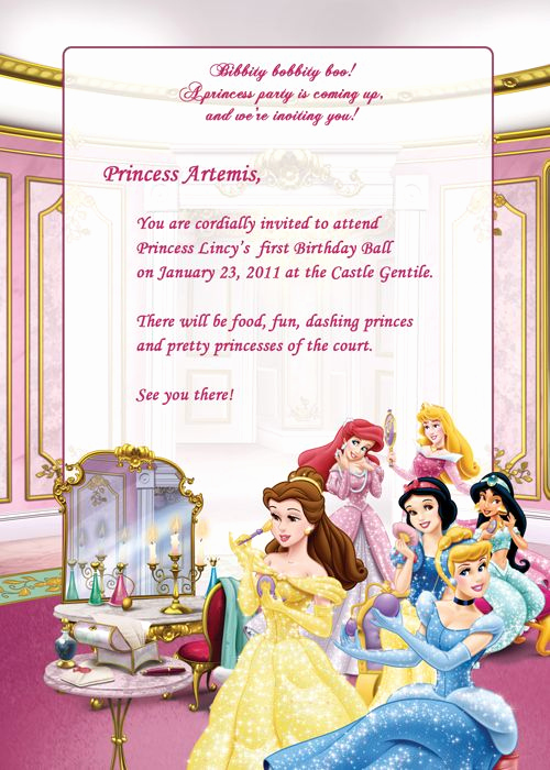 Disney Princess Invitation Template Fresh Disney Princesses Birthday Party Invitation Free
