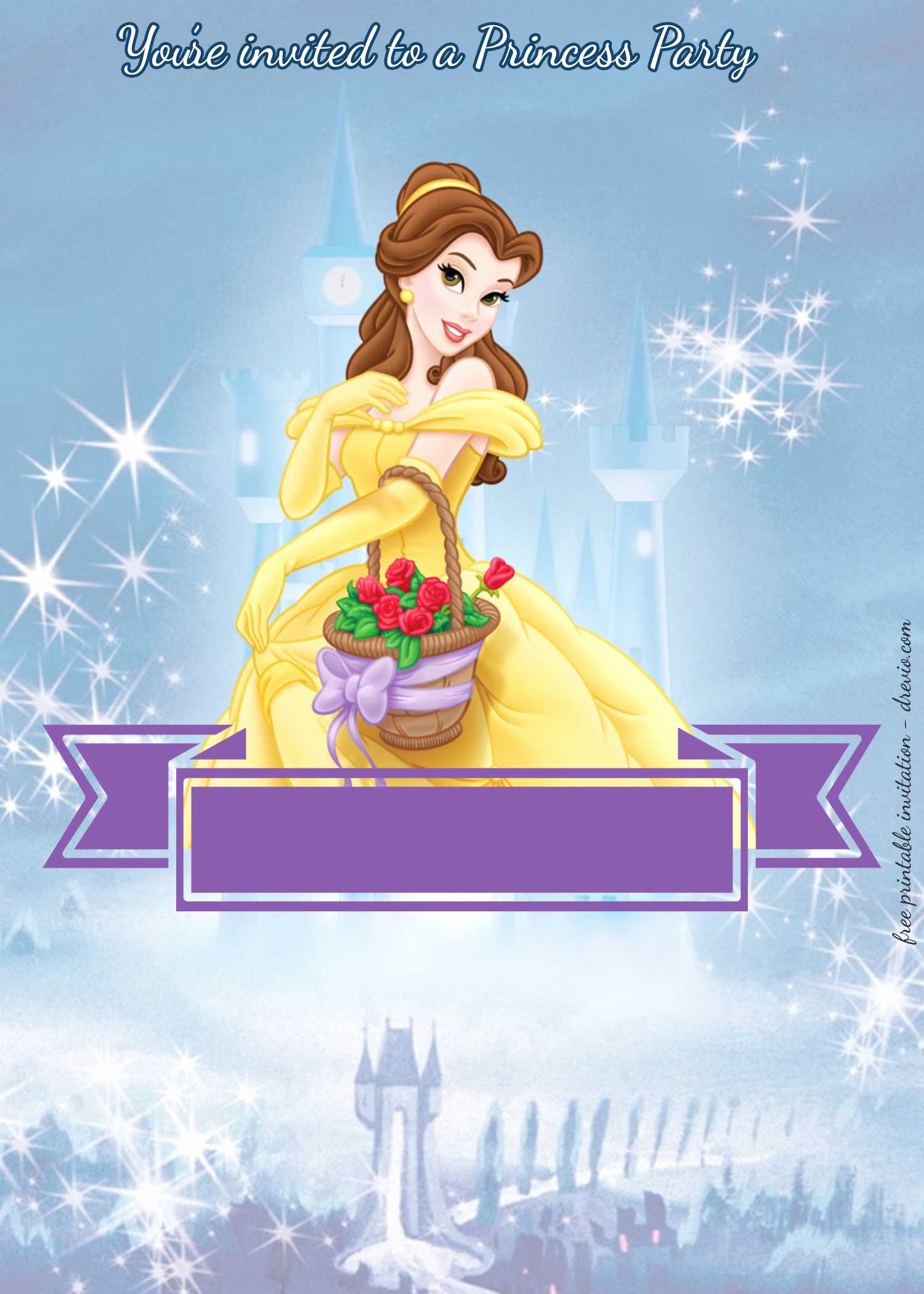Disney Princess Invitation Template Fresh Free Disney Princesses Birthday Invitation Templates