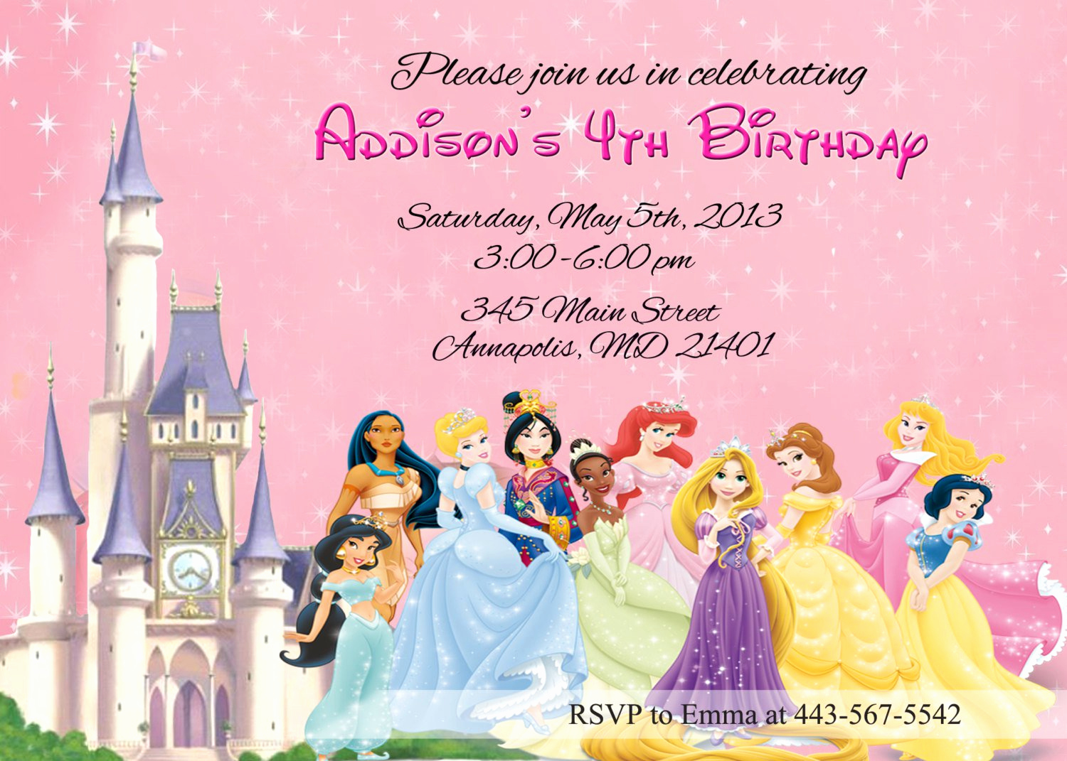 Disney Princess Invitation Template Inspirational Disney Princesses Birthday Invitations Disney Princess