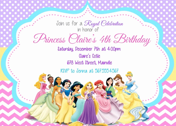 Disney Princess Invitation Template Inspirational Princess Invitation Disney Princess Invitation Birthday