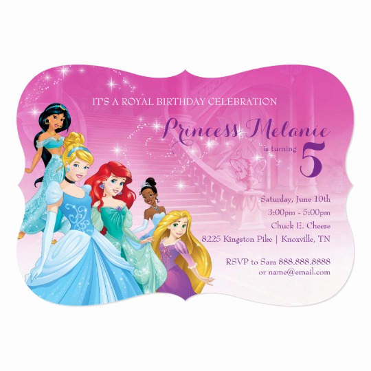 Disney Princess Invitation Template Lovely Disney Princess Birthday Invitation