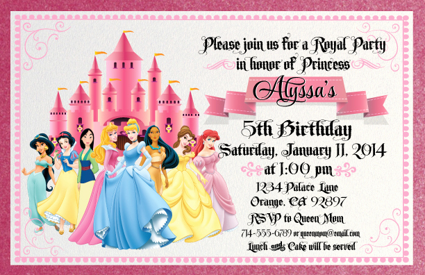 Disney Princess Invitation Template Luxury Disney Princess for Girl Birthday Invitations Ideas