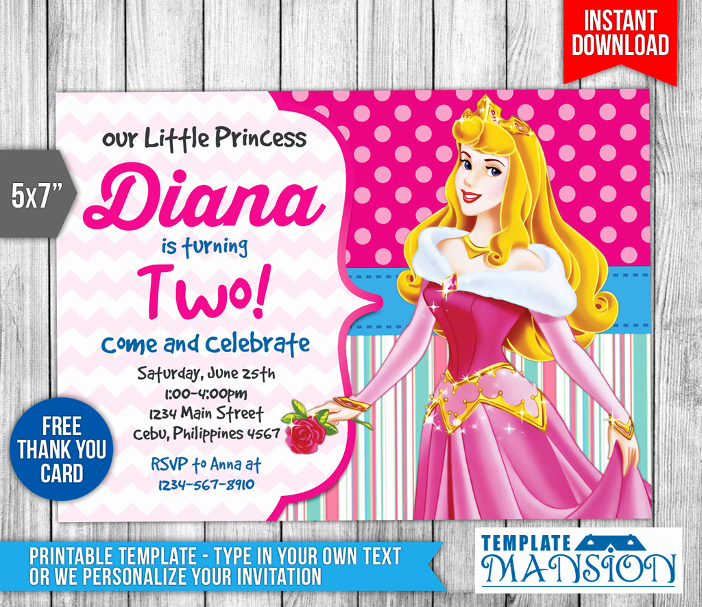 Disney Princess Invitation Template Luxury Sleeping Beauty Invitation Disney Princess Invite by