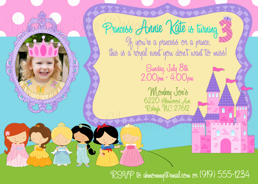 Disney Princess Invitation Template New Disney Princess Princesses Custom by Novemberbluedesigns