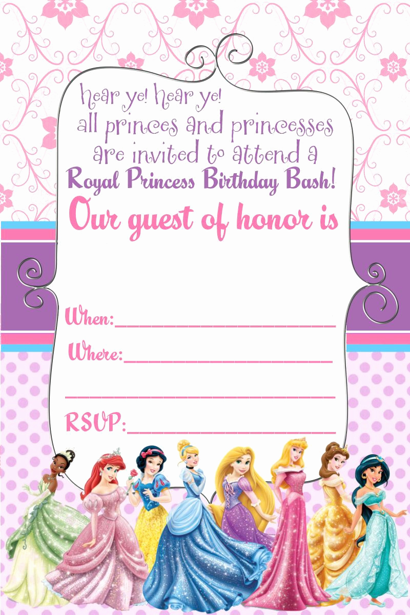 Disney Princess Invitation Template New Free Printable Disney Princess Birthday Invitations