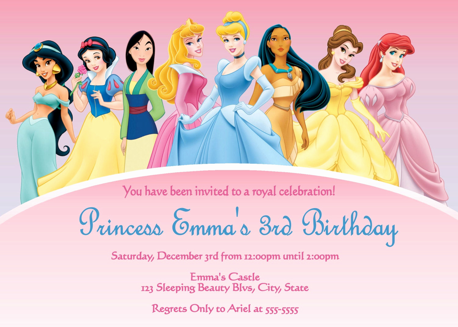 Disney Princess Invitation Templates Free Inspirational Disney Princess Digital Invitation by Preciouspixel On Etsy
