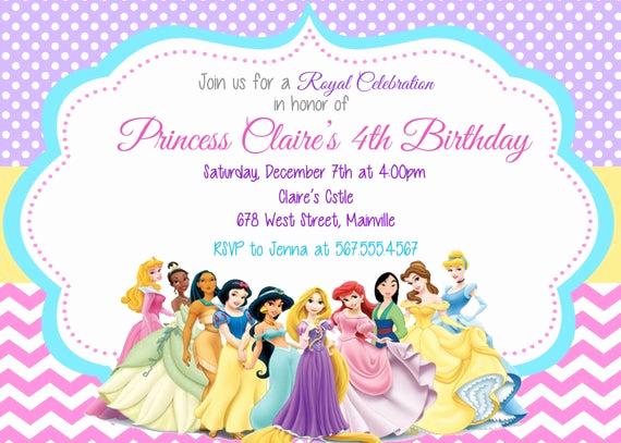 Disney Princess Invitation Templates Free Lovely Princess Invitation Disney Princess Invitation Birthday