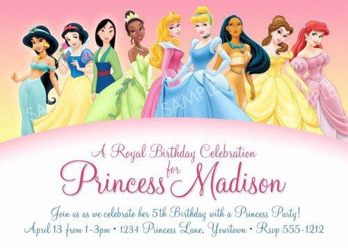 Disney Princess Invitation Templates Free Luxury Disney Princesses Birthday Invitations Disney Princess