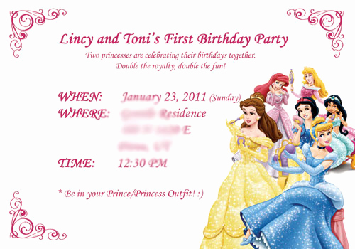 Disney Princess Invitation Templates Free New Disney Princess Information Card ← Wedding Invitation