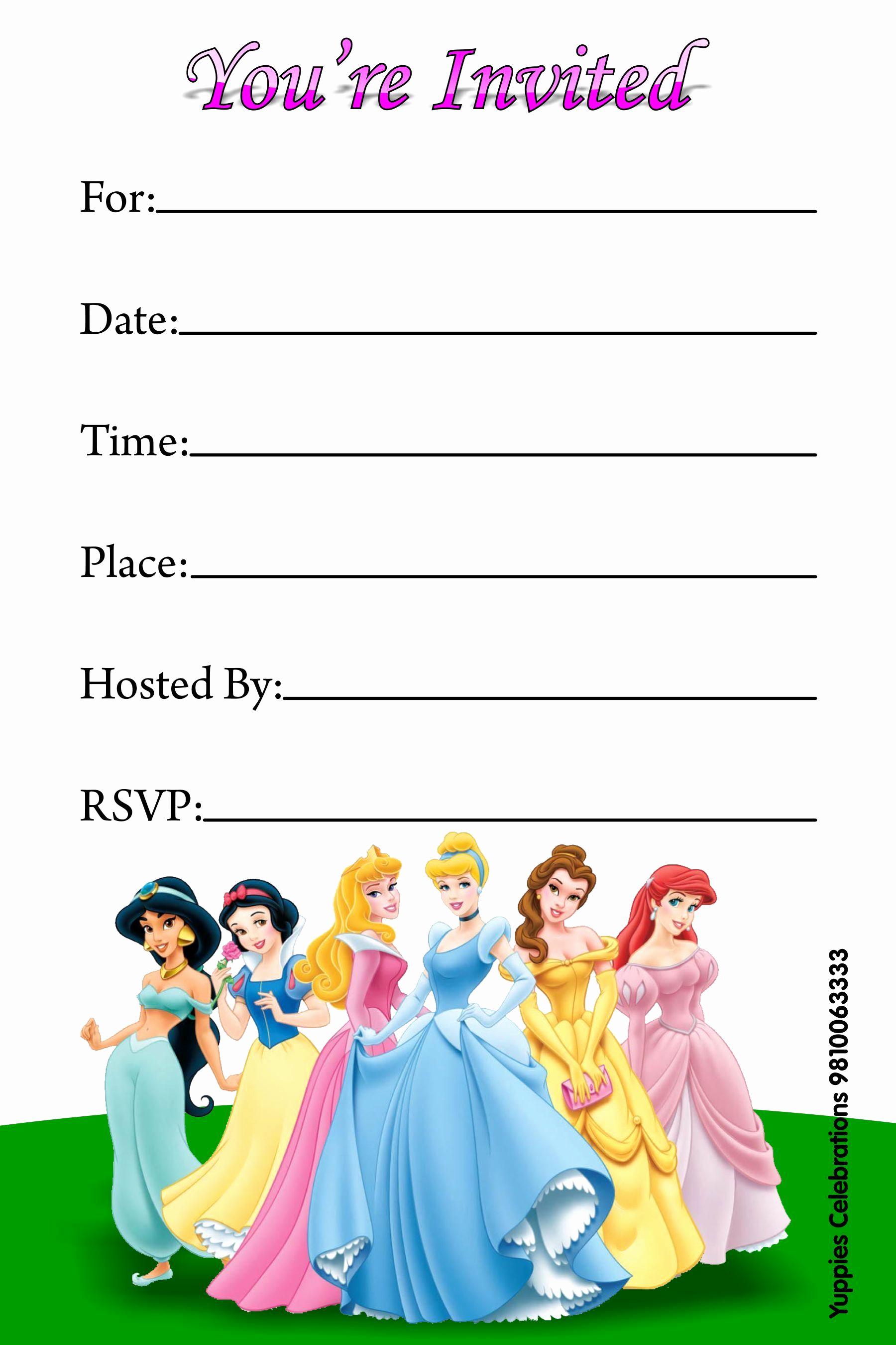 Disney Princess Invitation Templates Free Unique Disney Princess Invitations