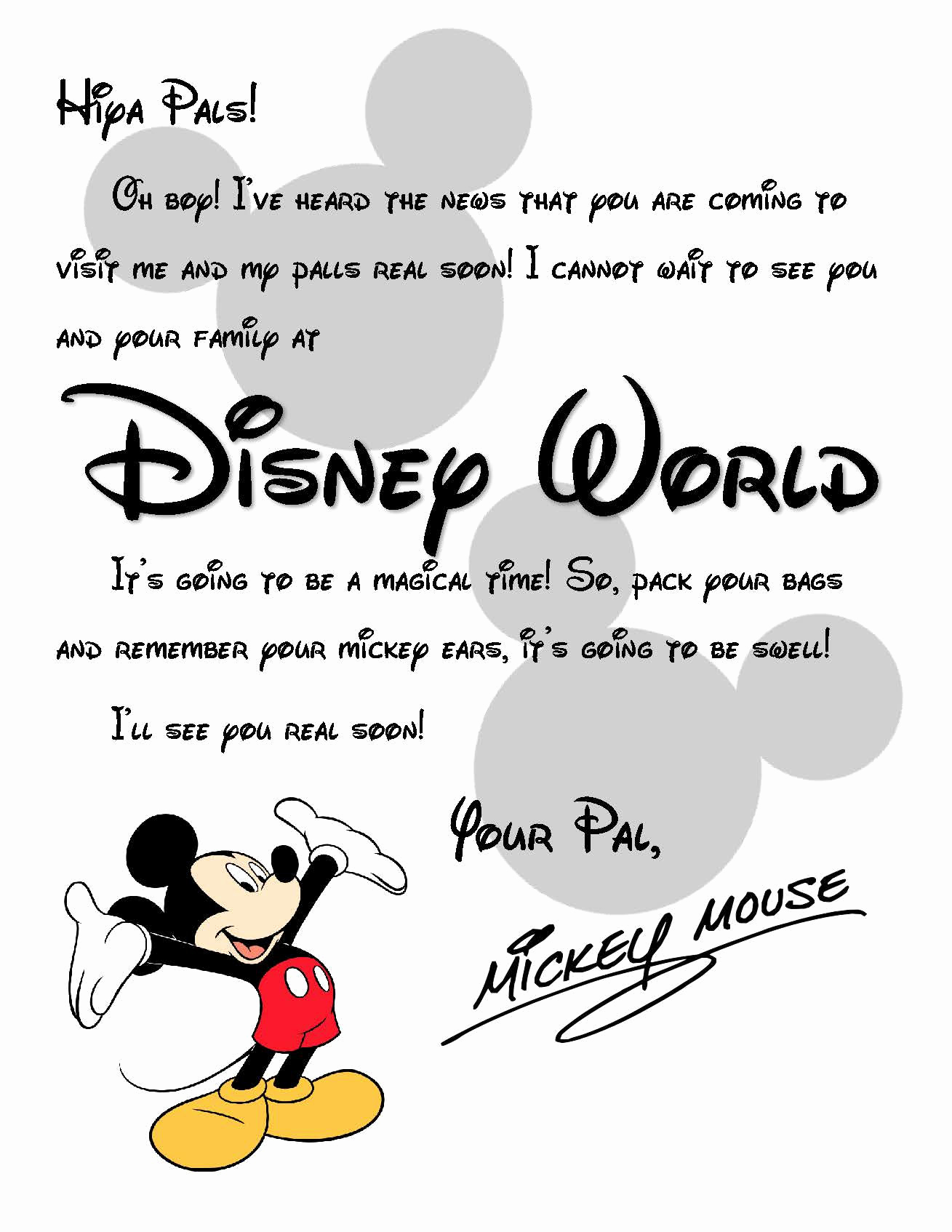 Disney World Invitation Letter Awesome Custom Disney World Letter From Mickey Invitation to