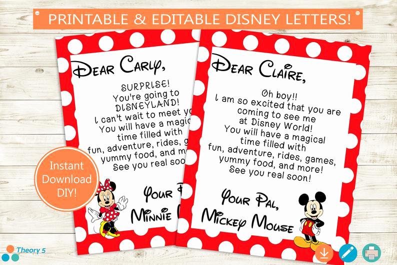 Disney World Invitation Letter Beautiful Disney Trip Reveal Letters Adobe Editable Pdf Disney