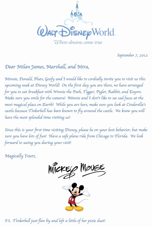 Disney World Invitation Letter Beautiful Letter From Mickey Mouse for the Kids Great Idea to