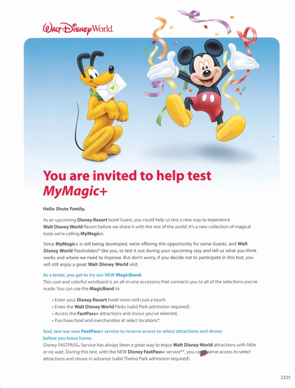 Disney World Invitation Letter Inspirational Invitations to Disney World S Mymagic Tests