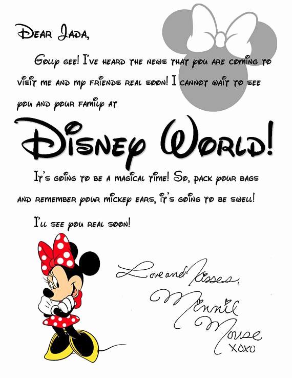 Disney World Invitation Letter Lovely Custom Disney World Letter From Minnie Invitation to