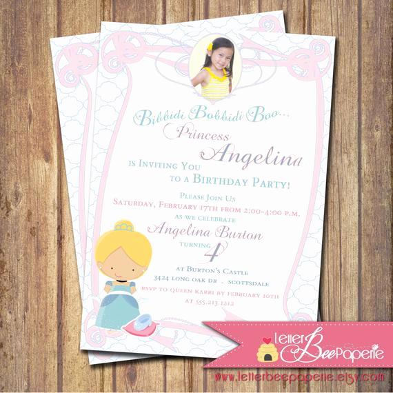 Disney World Invitation Letter Luxury Cinderella Inspired Girl S Birthday Party Invitation