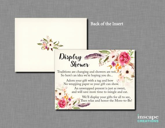 Display Baby Shower Invitation Wording Elegant Boho Baby Shower Display Shower Insert Invitation Insert