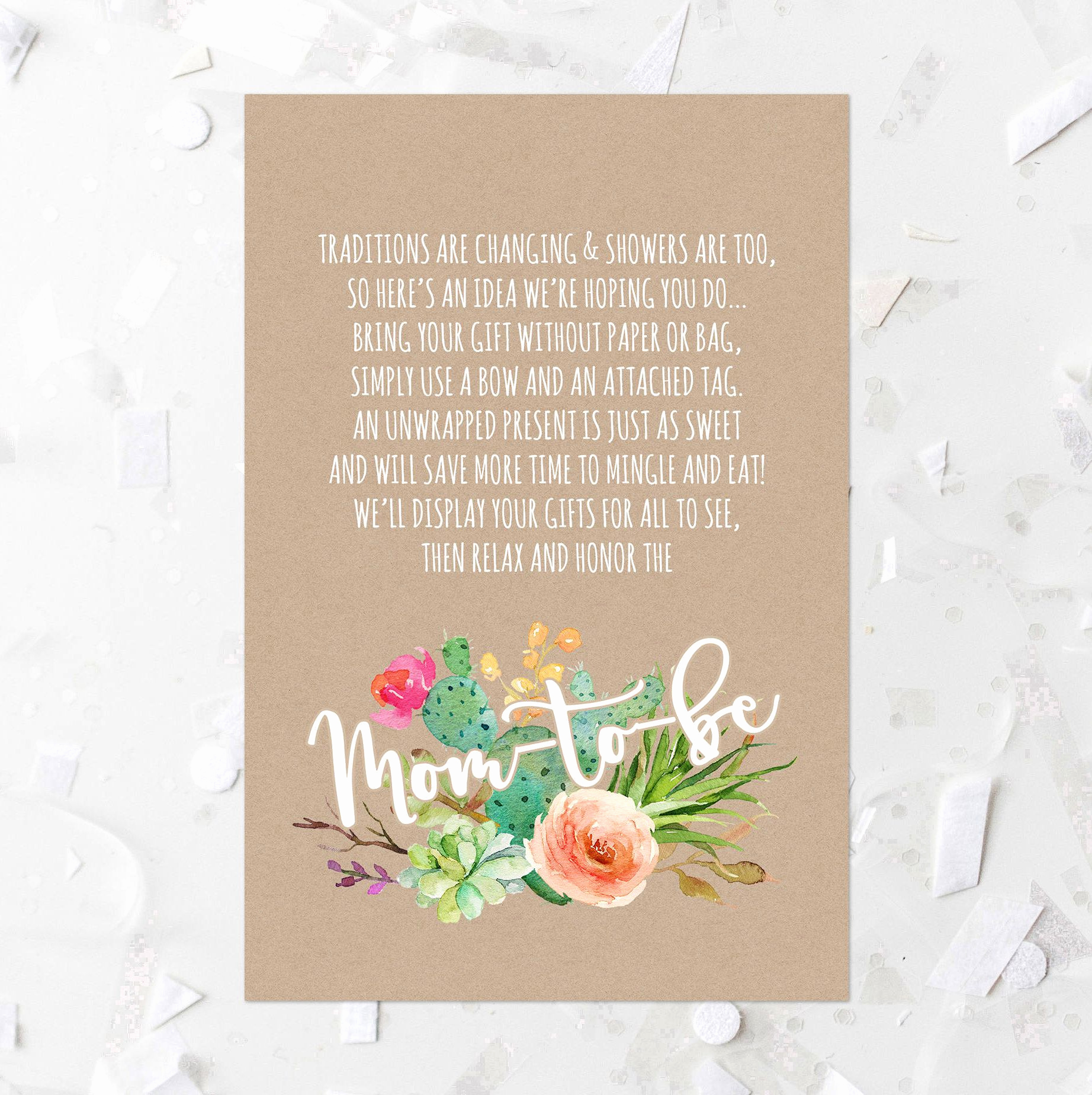 Display Baby Shower Invitation Wording Fresh Succulent Baby Shower Display Card Printable Cactus Baby