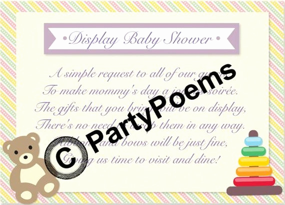 Display Baby Shower Invitation Wording Inspirational Display Baby Shower Poem Inserts Used Along Side Of by