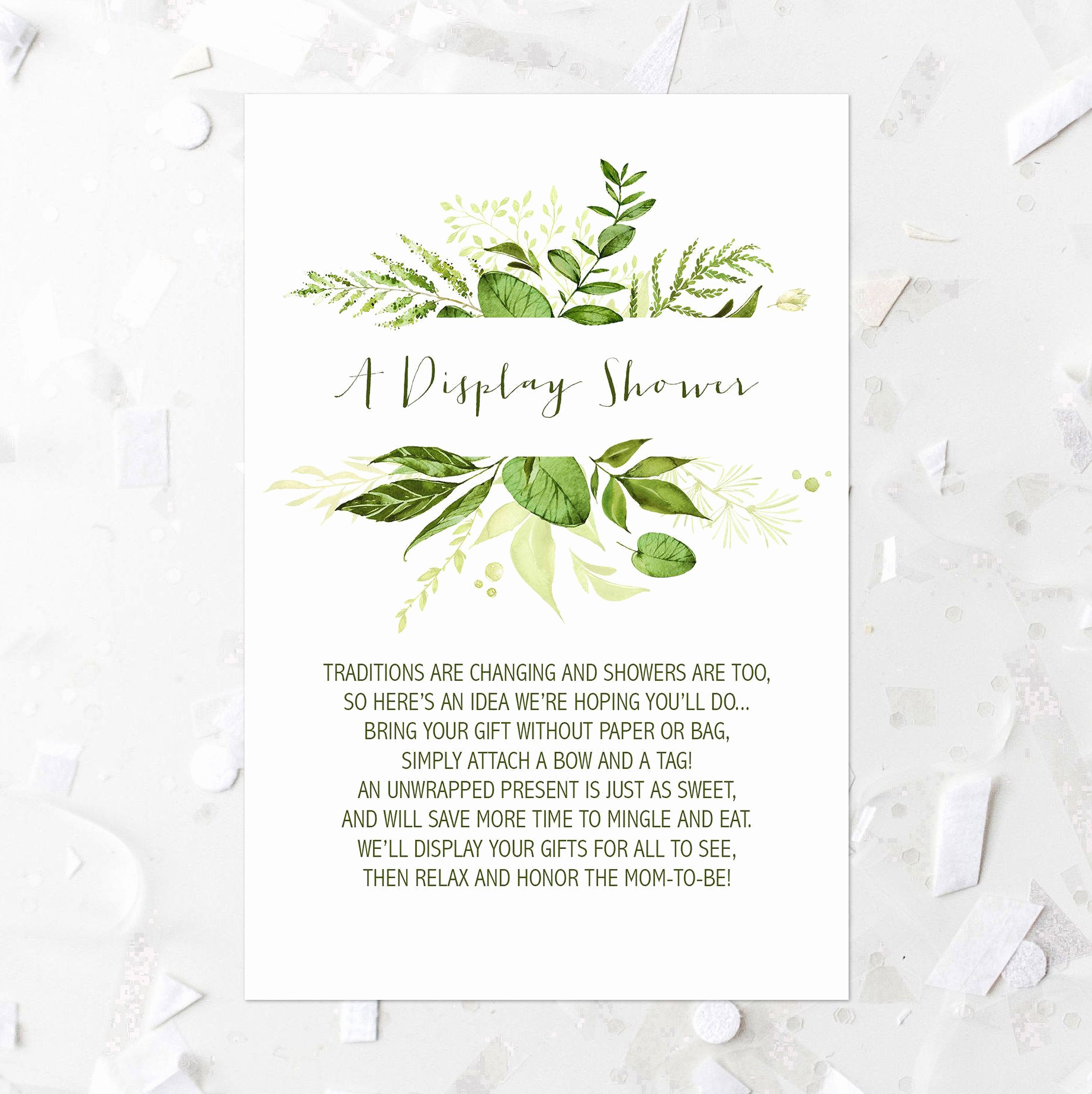 Display Baby Shower Invitation Wording Lovely Greenery Display Shower Card Printable Greenery Baby