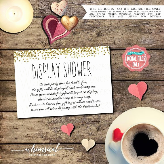"Display Bridal Shower Invitation Wording Elegant Bridal Shower Display Shower Card ""confetti Gold"