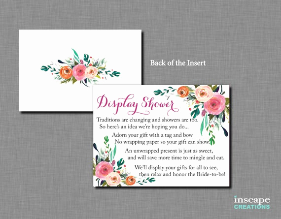 Display Bridal Shower Invitation Wording Elegant Display Shower Invitation Inserts Floral Bridal Display