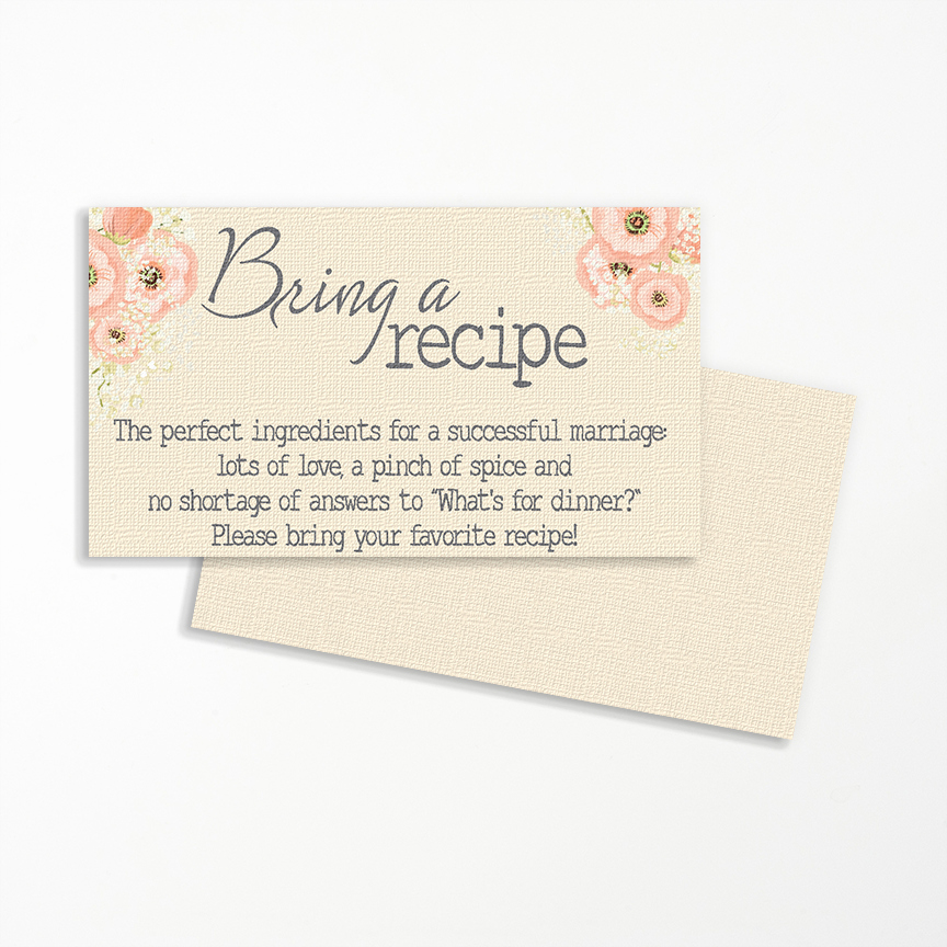 Display Bridal Shower Invitation Wording Fresh Bring A Recipe Invitation Insert