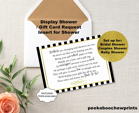 Display Bridal Shower Invitation Wording Fresh Display Shower Gift Card Unwrapped Gift Request Poem Insert
