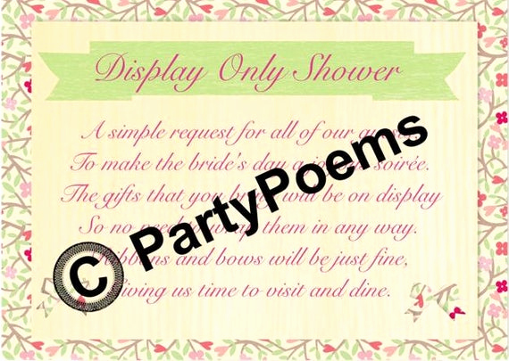 Display Bridal Shower Invitation Wording Inspirational Display Bridal Shower Poem Inserts Used Along Side by
