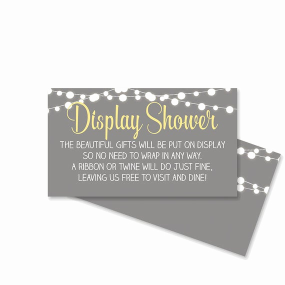Display Bridal Shower Invitation Wording Inspirational Display Shower Invitation Insert No Gift Wrap Card Gray