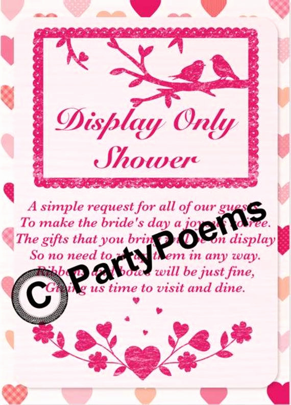 Display Shower Invitation Wording Best Of Items Similar to Display Bridal Shower Poem Inserts Used