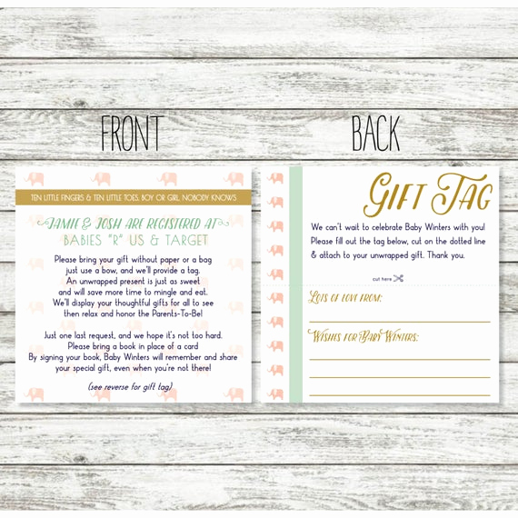 Display Shower Invitation Wording Elegant Baby Shower Registry Card Wording for Unwrapped Gift for