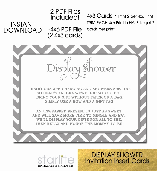 Display Shower Invitation Wording Fresh Baby Display Shower Card Grey White Chevron 4x3 Size