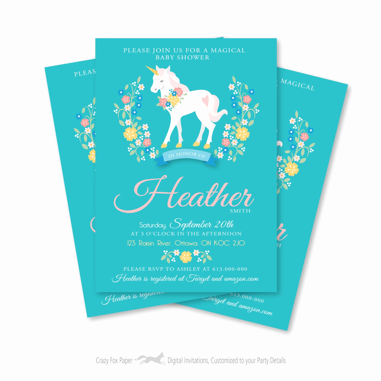 Diy Baby Shower Invitation Awesome Unicorn Baby Shower Invitation Printable Customized Diy