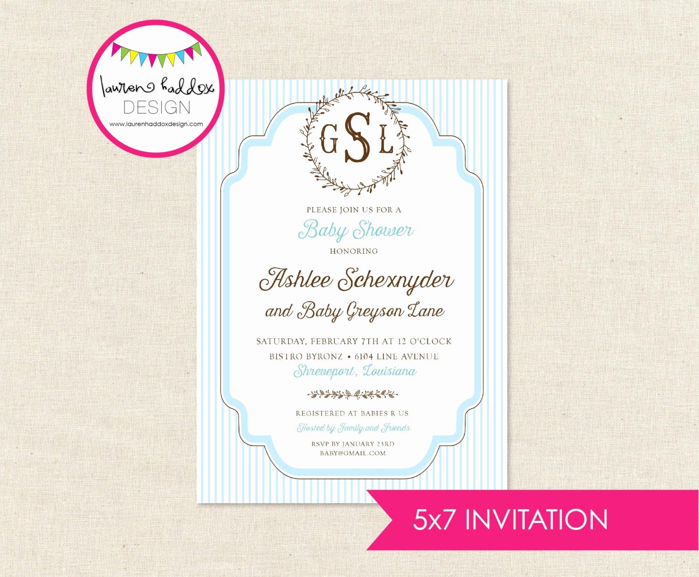 diy monogram baby shower invitation only