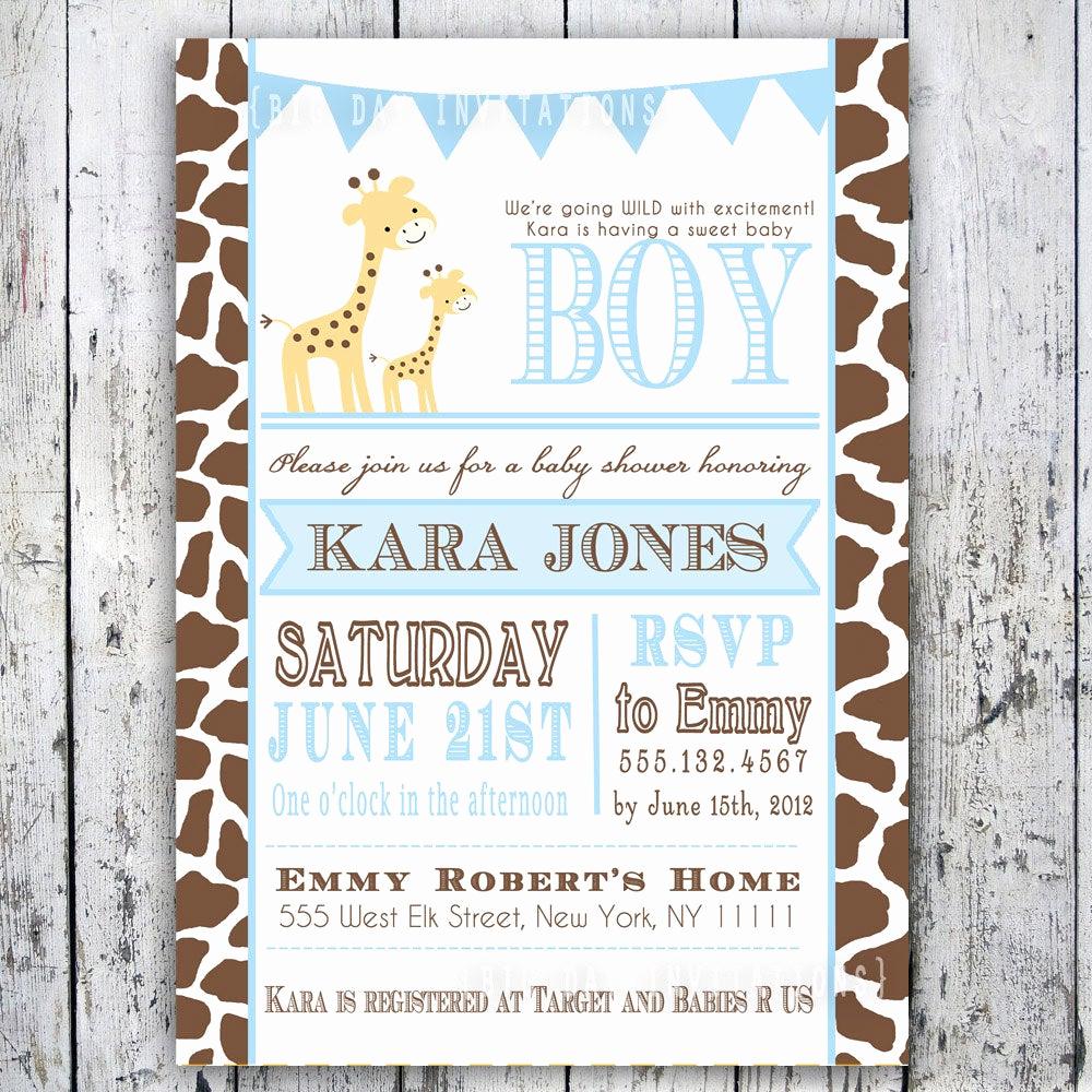 Diy Baby Shower Invitation Beautiful Giraffe Baby Shower Invitation Baby Sprinkle Diy Printable