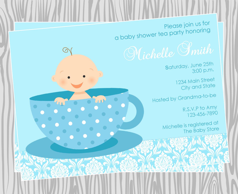 Diy Baby Shower Invitation Best Of Diy Baby Boy Tea Party Baby Shower Invitation Coordinating