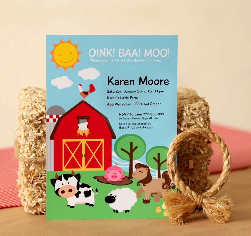 Diy Baby Shower Invitation Best Of Diy Printable Invitation Card Farm Barn Yard Baby Shower