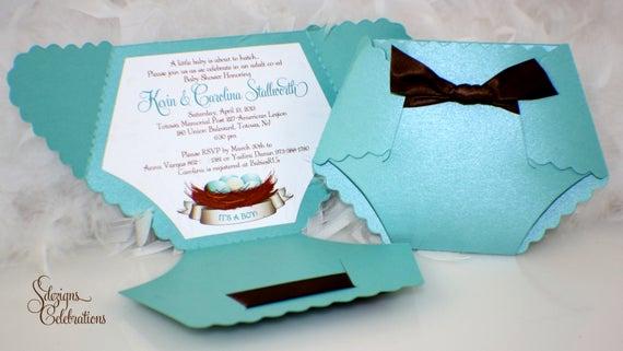Diy Baby Shower Invitation Ideas Elegant Diaper Baby Shower Invitation or Baby Announcement Bird Nest