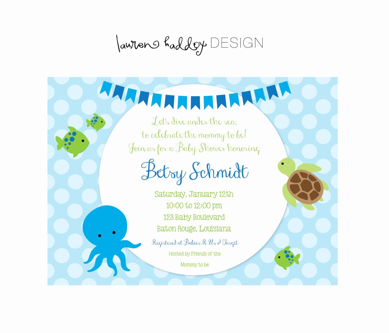 Diy Baby Shower Invitation Lovely Diy Under the Sea Baby Shower Invitation
