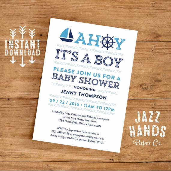 Diy Baby Shower Invitation Templates Beautiful Printable Nautical Baby Shower Invitation by Jazzhandspaperco
