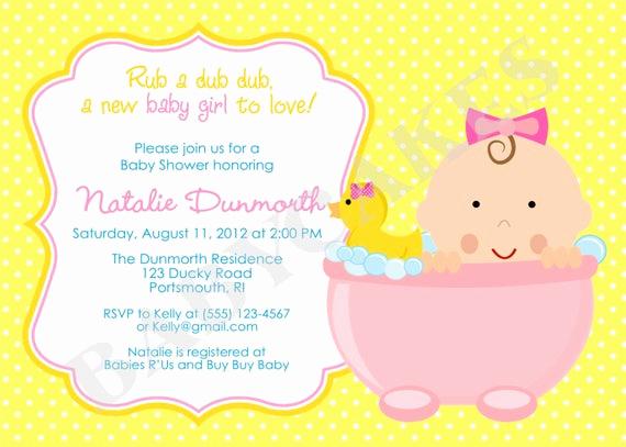 Diy Baby Shower Invitation Templates Fresh Rubber Ducky Baby Shower Invitation Baby Girl Rubber