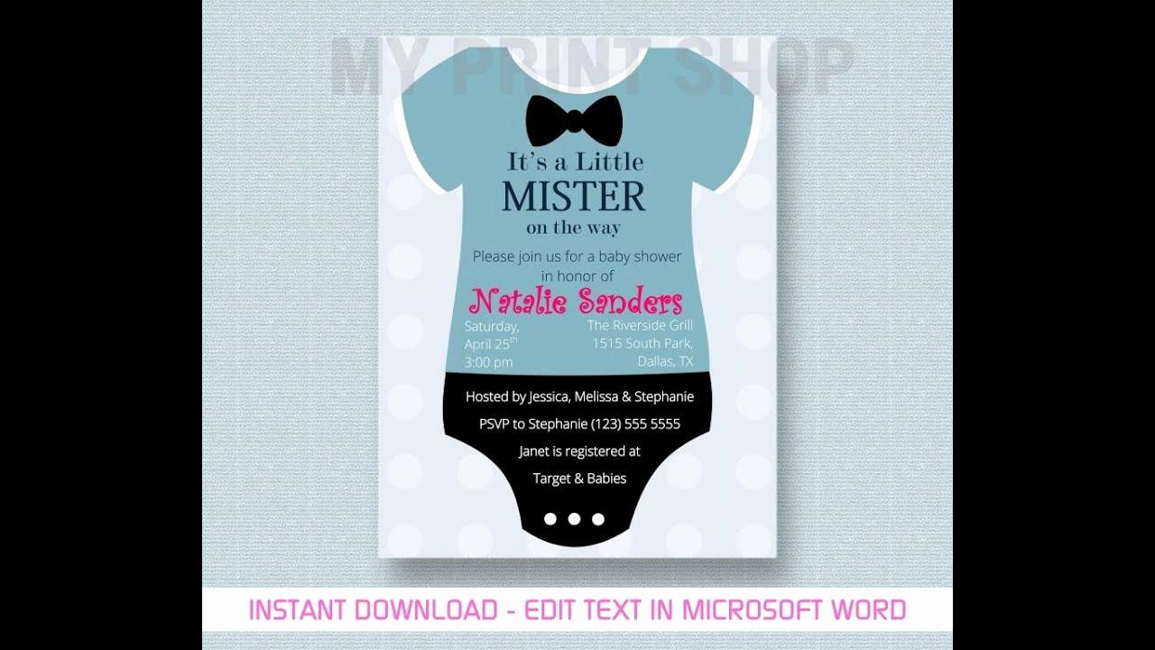Diy Baby Shower Invitation Templates New Baby Boy Shower Invitation Template