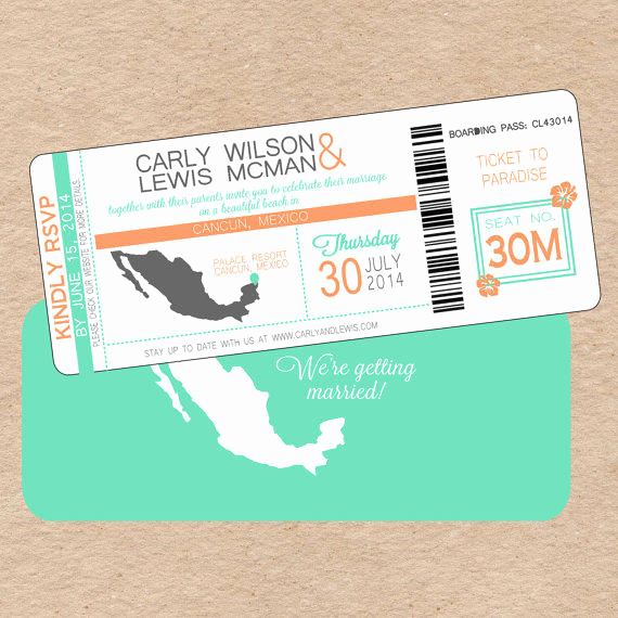 Diy Boarding Pass Invitation Awesome Modern Boarding Pass Wedding Invitation From