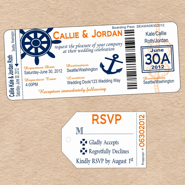 Diy Boarding Pass Invitation Beautiful Nautical Boarding Pass Invitation & Matching Luggage Tag