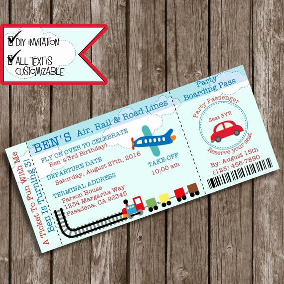 Diy Boarding Pass Invitation Best Of Boarding Pass Invitations Diy Printable Invite Planes Trains