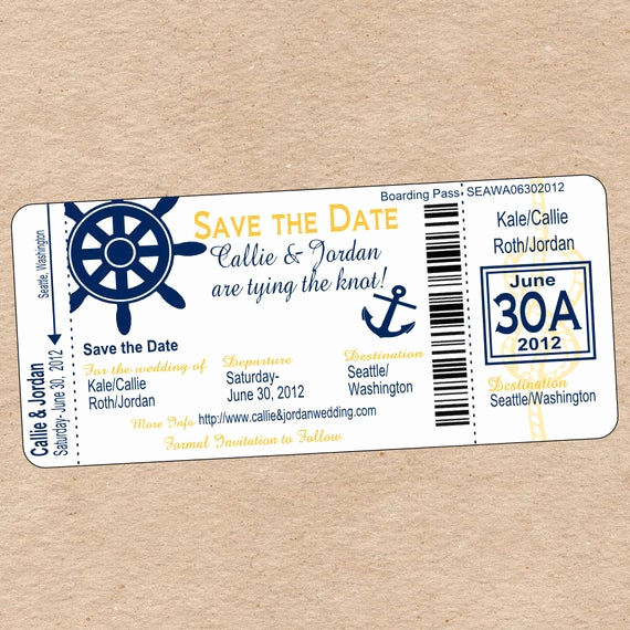 Diy Boarding Pass Invitation Inspirational Nautical Boarding Pass Save the Date or Wedding Invitation